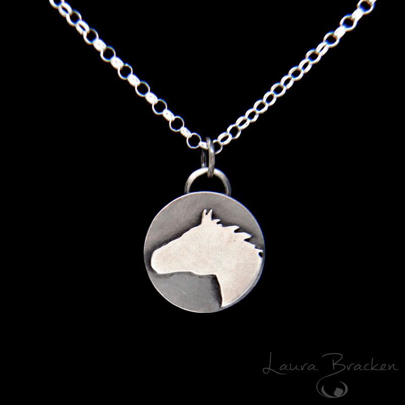 A horse is worth more than riches spanish proverb handmade horse horse pendant necklace sterling silver horse head silhouette mustang aloadofball Gallery