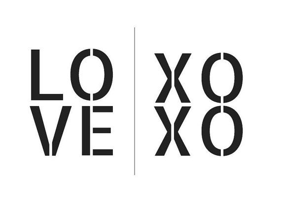Love xoxo set of 2 black white prints by downtownparty on etsy