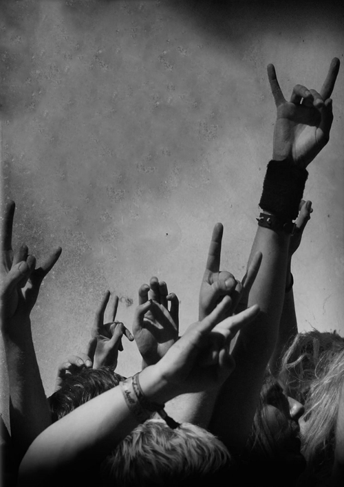Rock n roll festival love rock out hands crowd black white photography party music cool fun