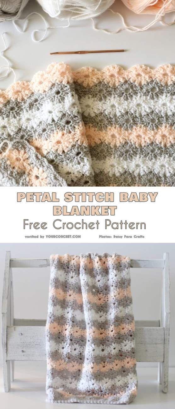 Petal Stitch Baby Blanket Free Crochet Pattern | Crafts | Pinterest ...