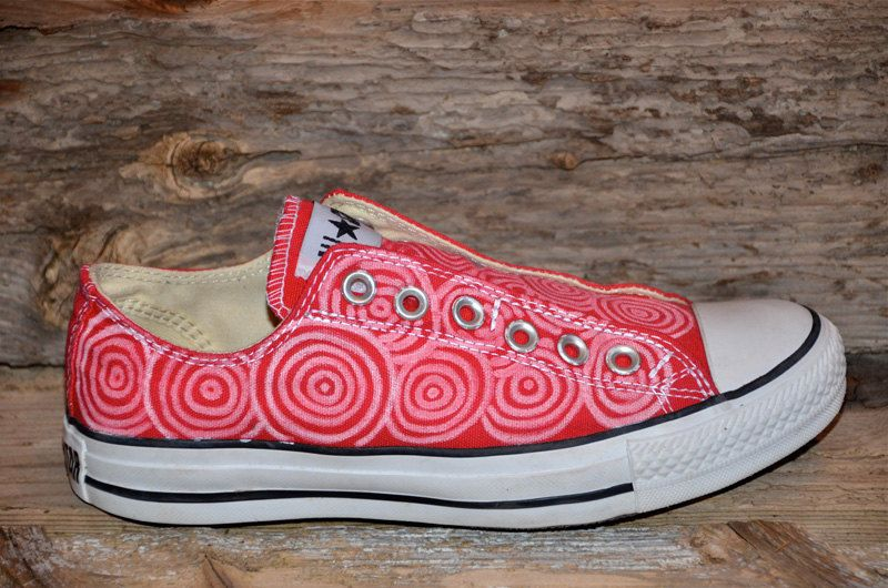 Circles on Red Converse All Star SlipOns by lucytwoshoes on Etsy, $140.00