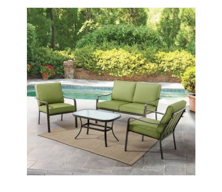 4 pc patio deck set love seat 2 chairs glass table pool yard garden