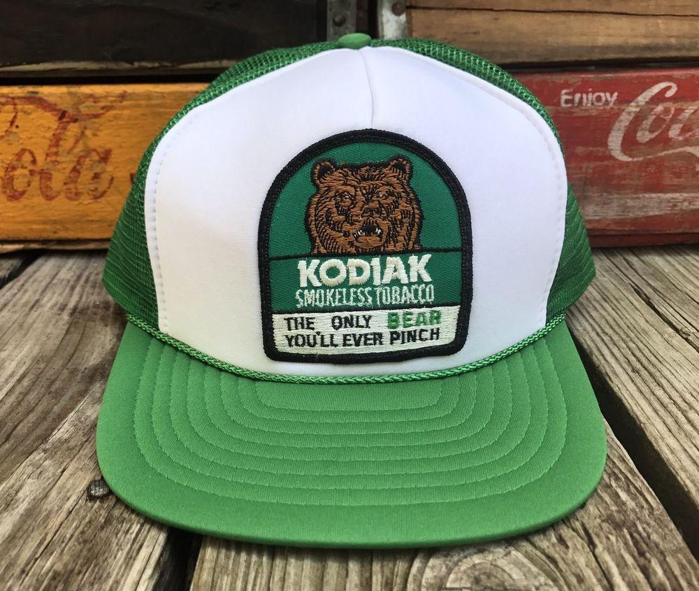 db8d7c8f770a5 Vintage 80s KODIAK Smokeless Tobacco Bear Snuff Green Mesh Snapback Trucker  Hat  Nissin  Trucker  Everyday