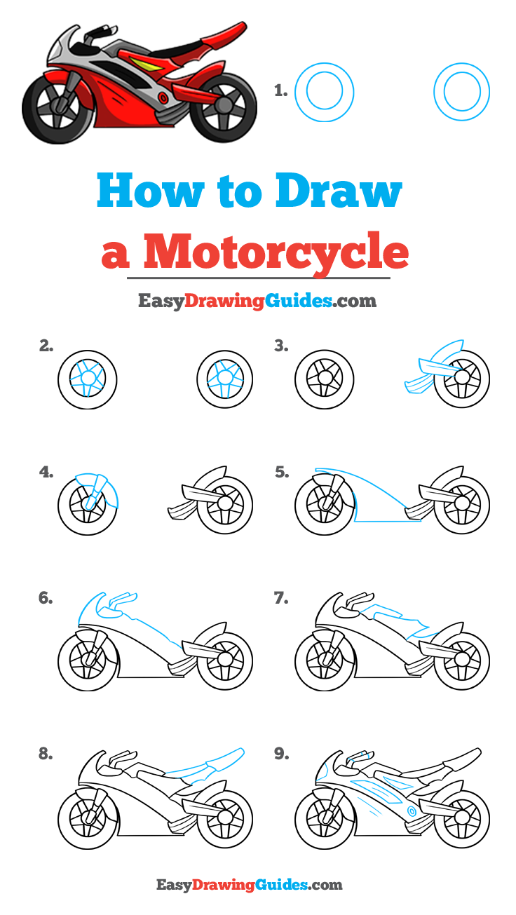 How To Draw A Motorcycle In 2020 Drawing Tutorial Easy Easy