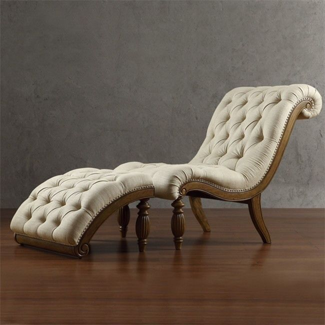 Tribecca Home Chaise W Ottoman Lounge Chair Tufted Curved