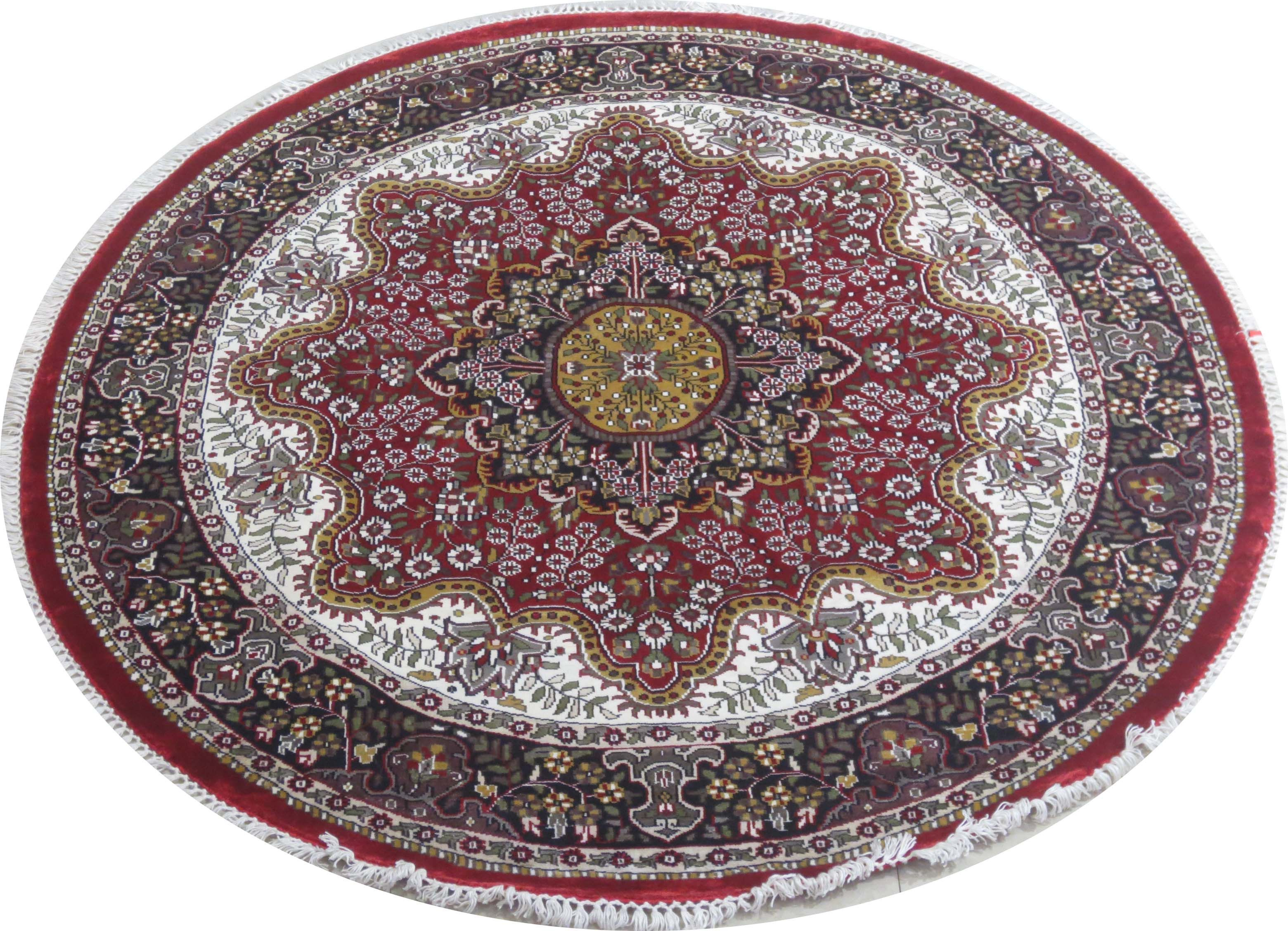 Rich Floral Persian Design Rug For Sale Kashmir Silk Round Handmade Rug 6 X 6 Handmade Rug Rugs Persian