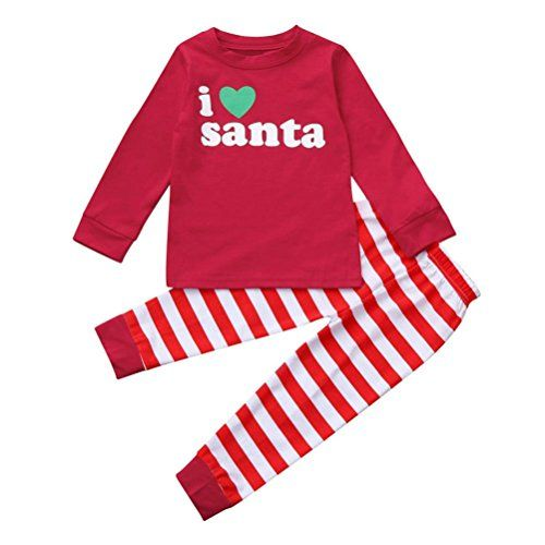 65039f635d4a6 HOT!!2-7 Years Old Toddler Kids Christmas Deer Tops Stripe Pants,Baby Girls  Boys Outfit Clothes Set (Red B, 4T)
