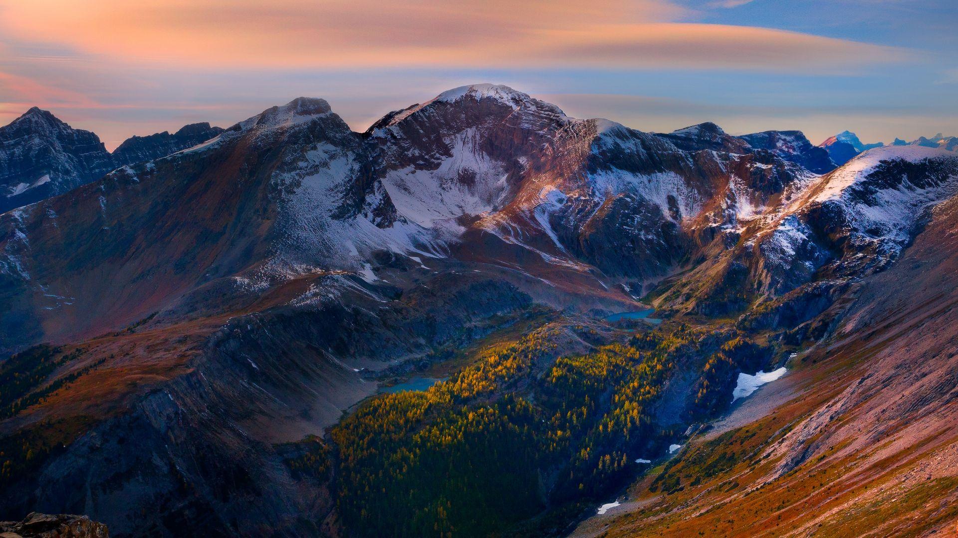 Download Wallpaper 1920x1080 mountain, peaks, sky