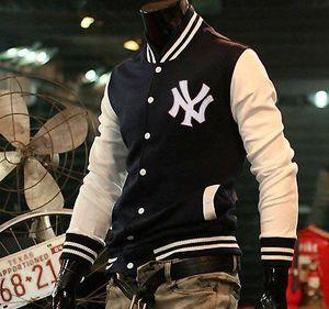 f56f5c933e Baseball 2012 Frete Grátis Homens de inverno da forma de token Pached  Hoodies Jacket magro Tamanho Coats ML XL XXL Marinho vinho tinto Azul