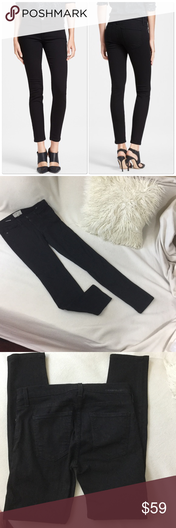 """Current/Elliot black skinny jeans Current/Elliot black skinny jeans. Wonderful condition and super Chic. Inseam measures 28"""" long 14"""" across waist and a 8 1/4"""" front rise. 💟 Current/Elliott Jeans Skinny"""