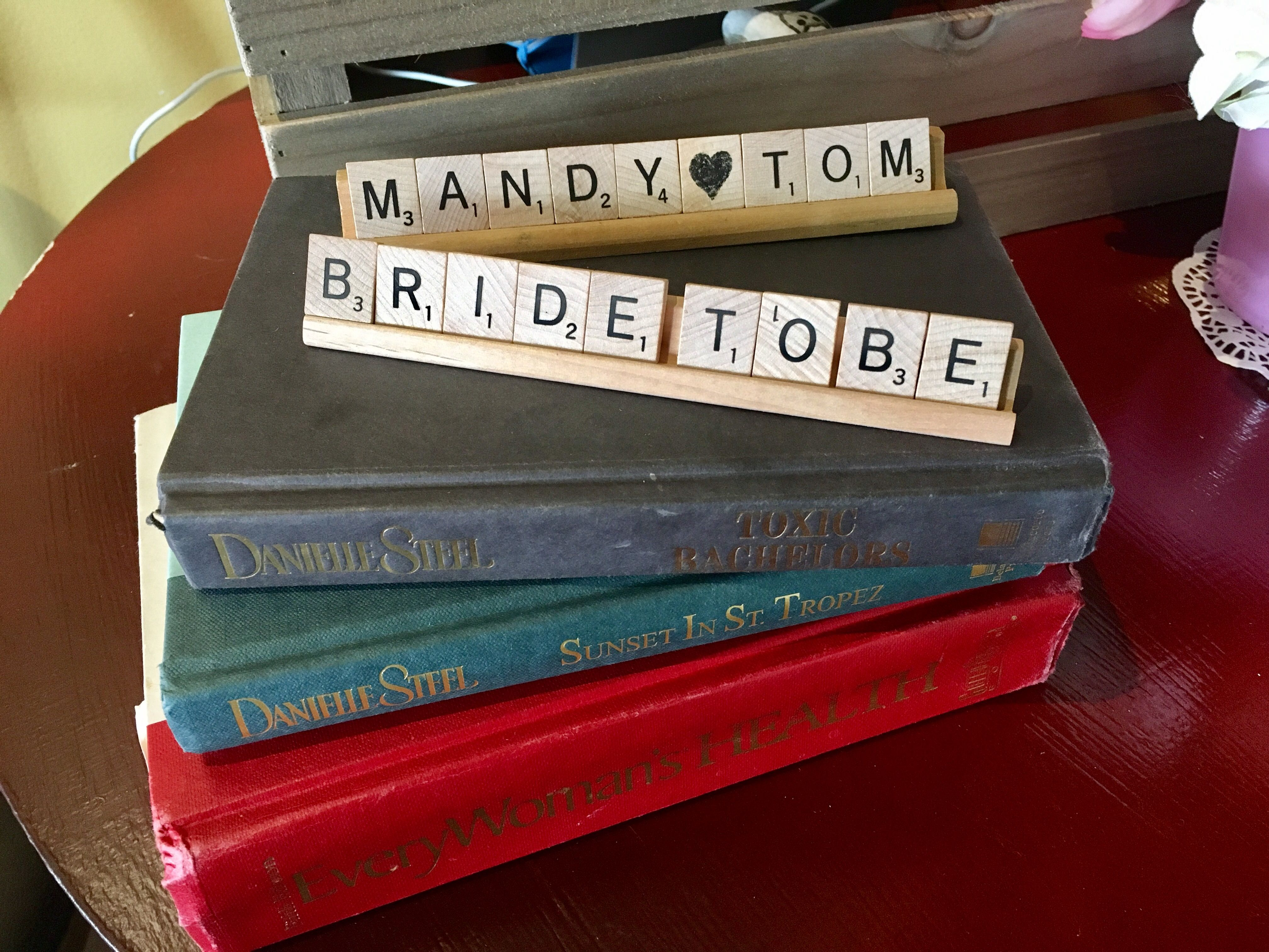 Scrabble letters and books bridal shower decor