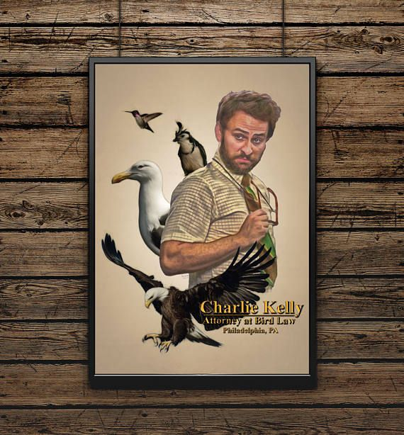 Charlie Kelly Attorney At Bird Law Its Always Sunny In Etsy Poster Prints Philadelphia Wall Art Colored Pencil Portrait