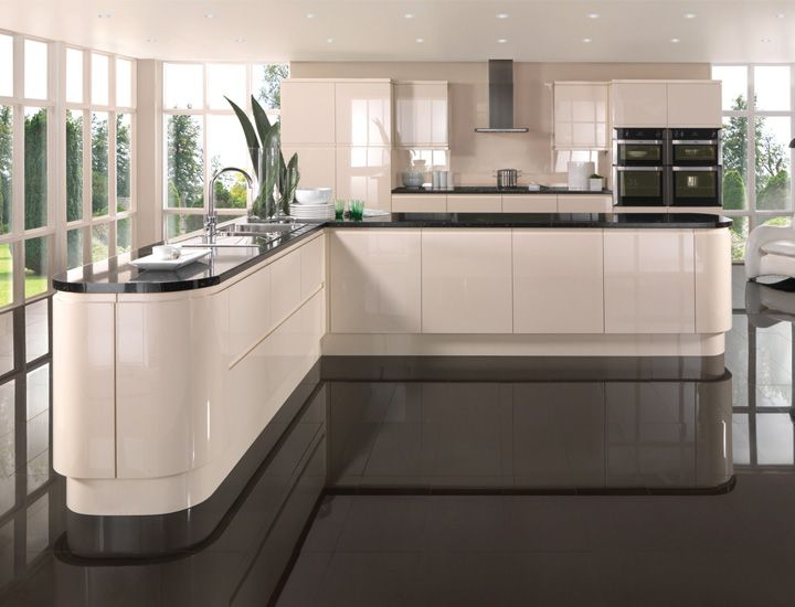 Oyster cream gloss kitchen google search mutfak for Black gloss kitchen ideas