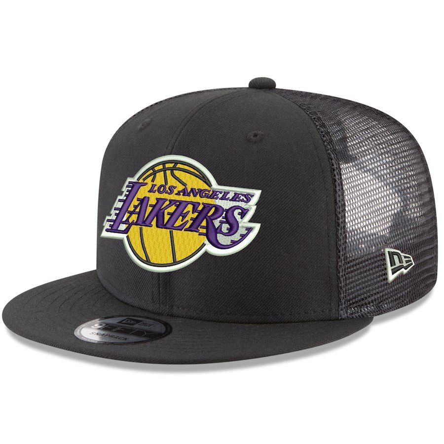 6f9f01275052c Men s Los Angeles Lakers New Era Black Trucker 9FIFTY Adjustable Snapback  Hat