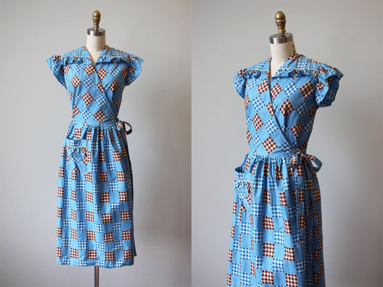 1930s Dress Vintage 30s Wrap Dress Robin Egg Blue Etsy House Dress Dresses Vintage Dresses [ 1200 x 1600 Pixel ]