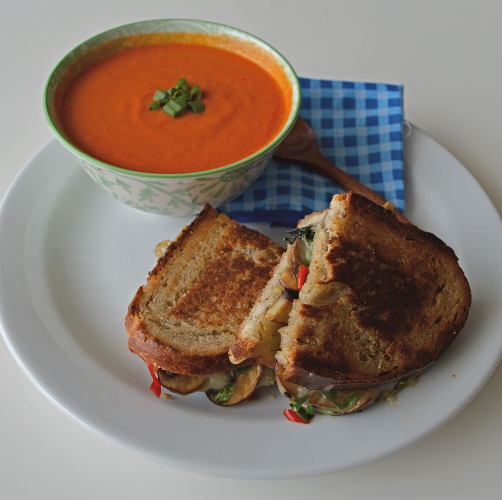 Thai Inspired Tomato Soup with Mushroom & Thai Basil Grilled Cheese Sandwiches