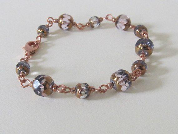 Rose Gold and Lavender Link Bracelet by MLinksDesigns on Etsy