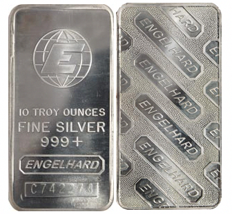 Silver Engelhard Silver Bullion Bars Sold In 1 Oz 10 Oz And 100 Oz Sizes Goldinvesting Silver Gold Bullion Coins