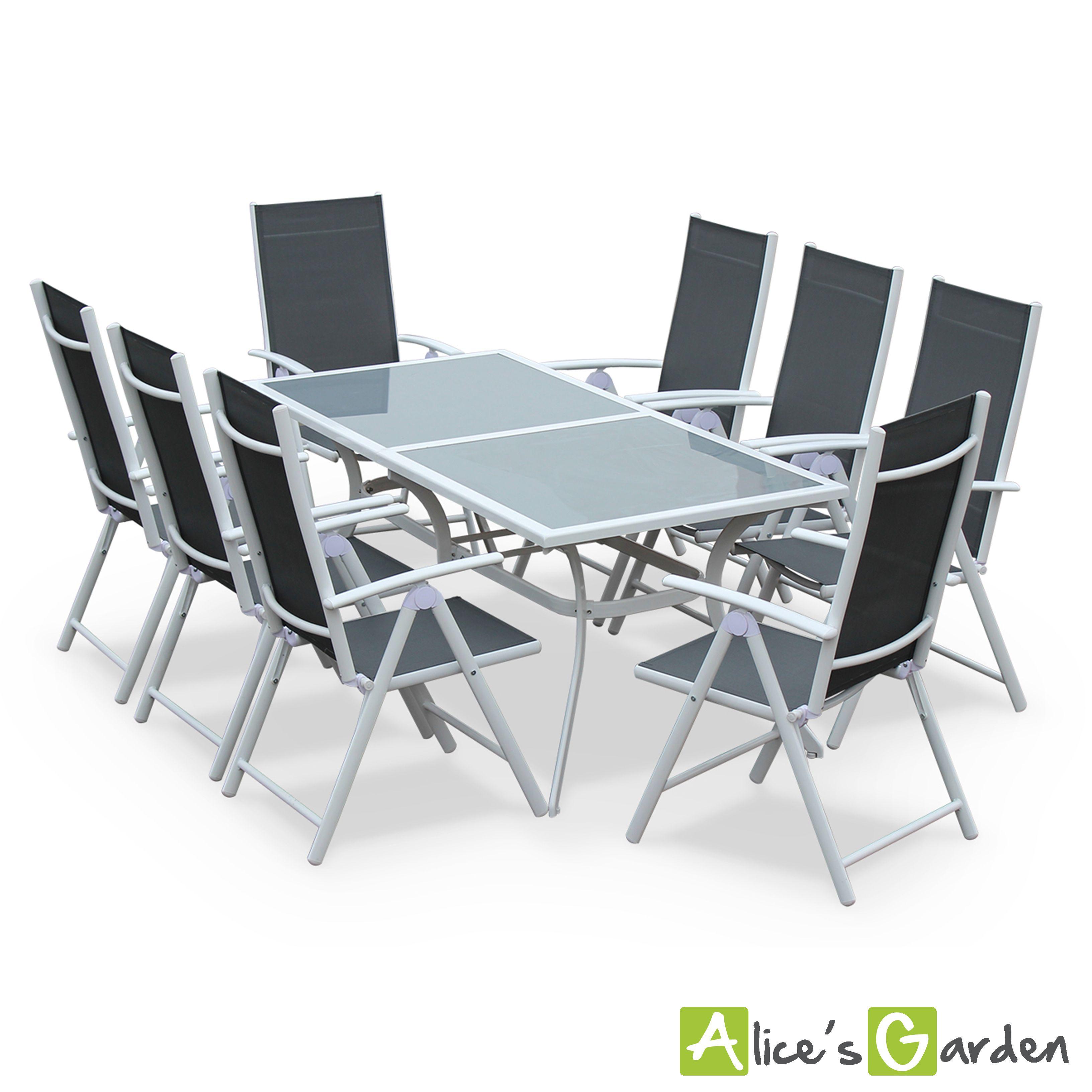 Naevia : ensemble table et chaises en aluminium et textilène ...