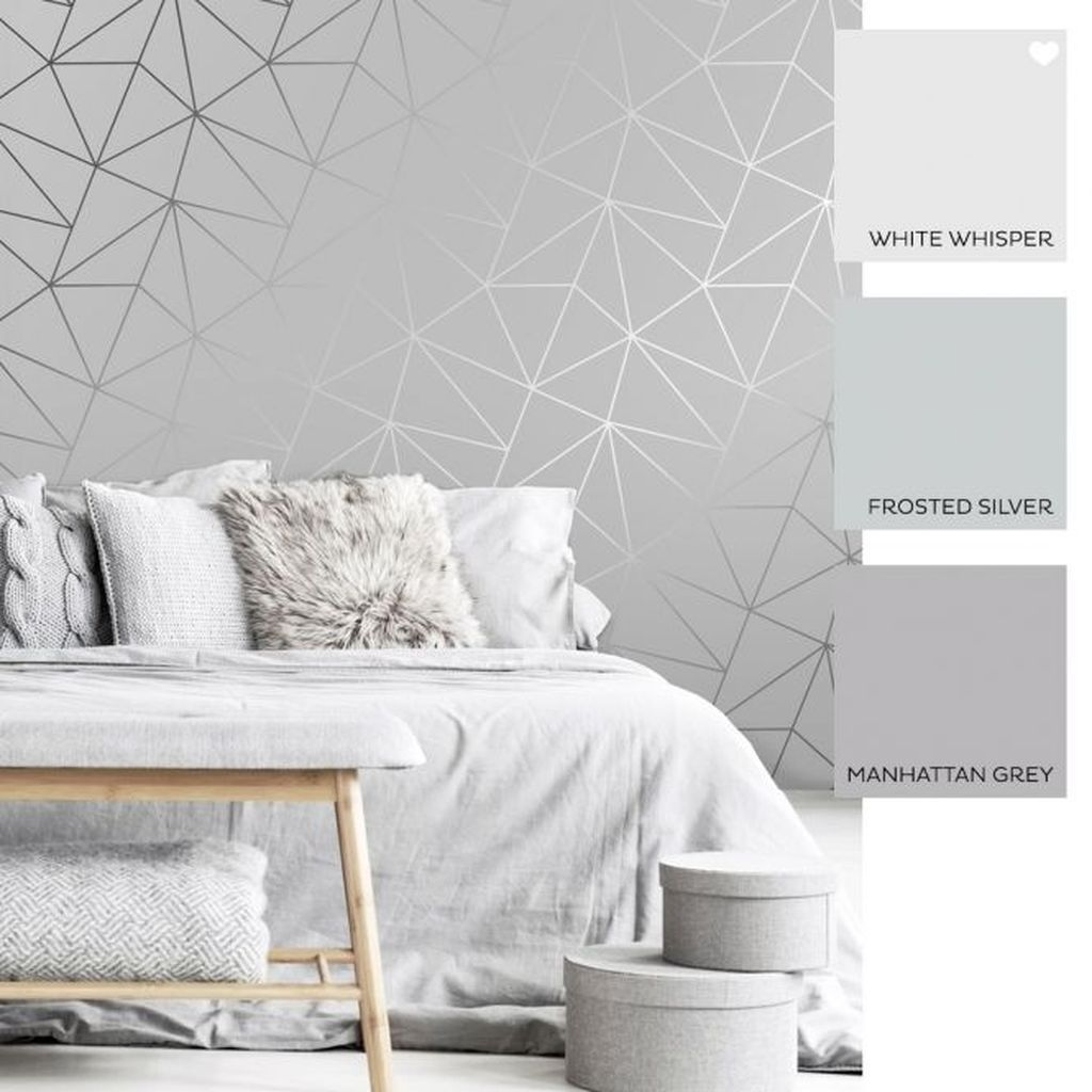 37 Nice Bedroom Wallpaper Ideas You Must Have In 2020 Grey Wallpaper Bedroom Grey Wallpaper Living Room Feature Wall Bedroom