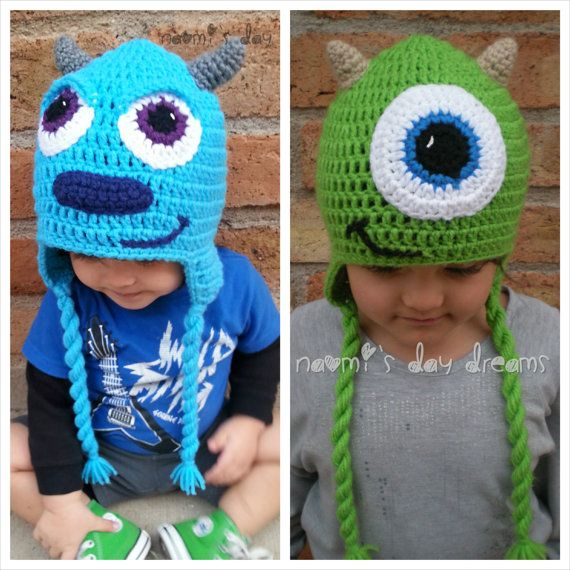 Monsters Inc. inspired Crochet Hat with earflaps, Mike or Sully for ...