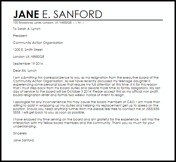 Non Profit Board Resignation Letter Letters Livecareer Sample And