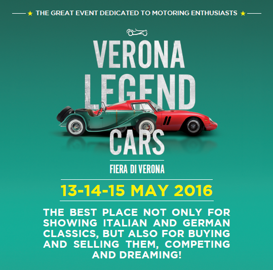 2016 Verona Legend Cars-Vintage cars exhibit, May 13-15, 9 a.m.-7 p.m., at Verona Fair, entrance fee: €15, reduced €12 for children aged 12-16; free entrance for children younger than 12 and for disabled; special discounts (€12 and €9 reduced) for American stationed in Vicenza; to get the coupon, send an email to anna.terracino2.ln@mail.mil; If you own a vintage vehicle and you would like to exhibit free of charge at the fair, call 049-7386856. English operator available.