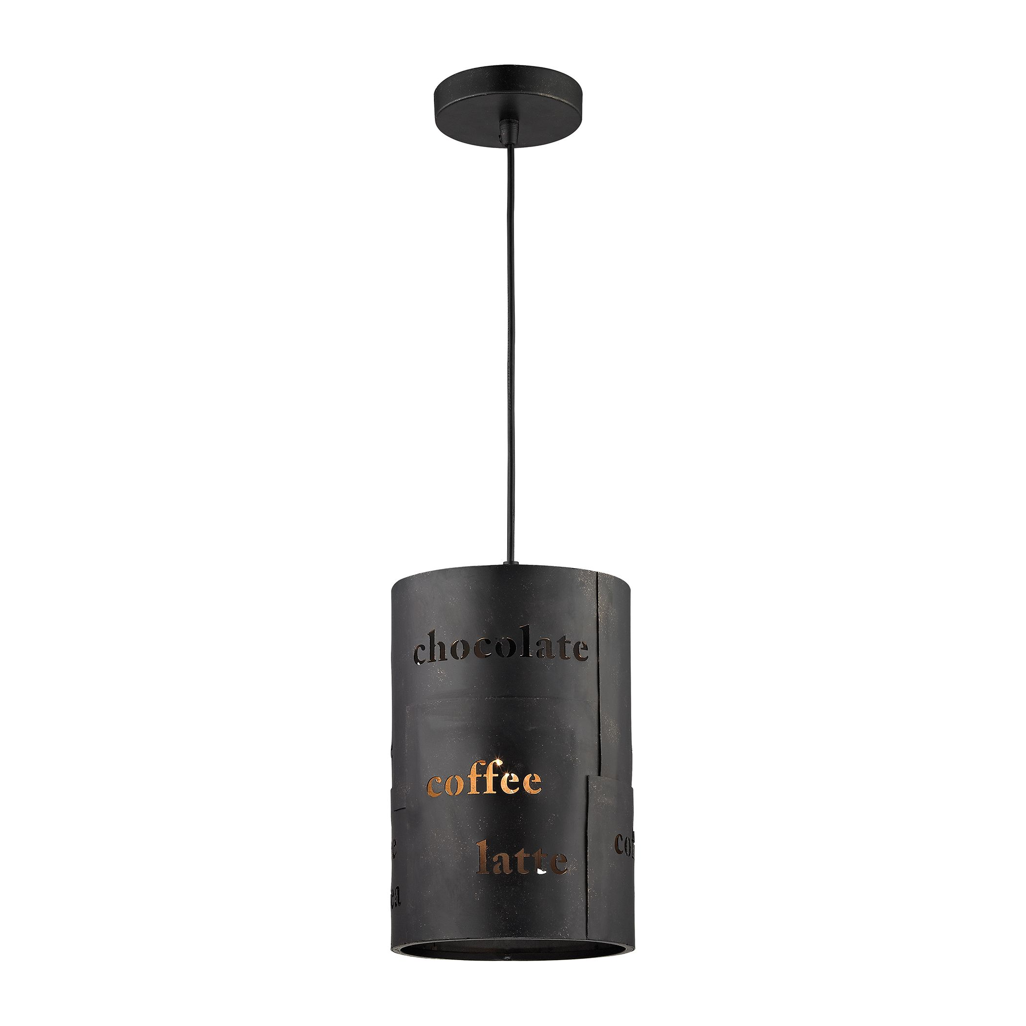 Café 1 Light Pendant with Matte Black and Gold Accents