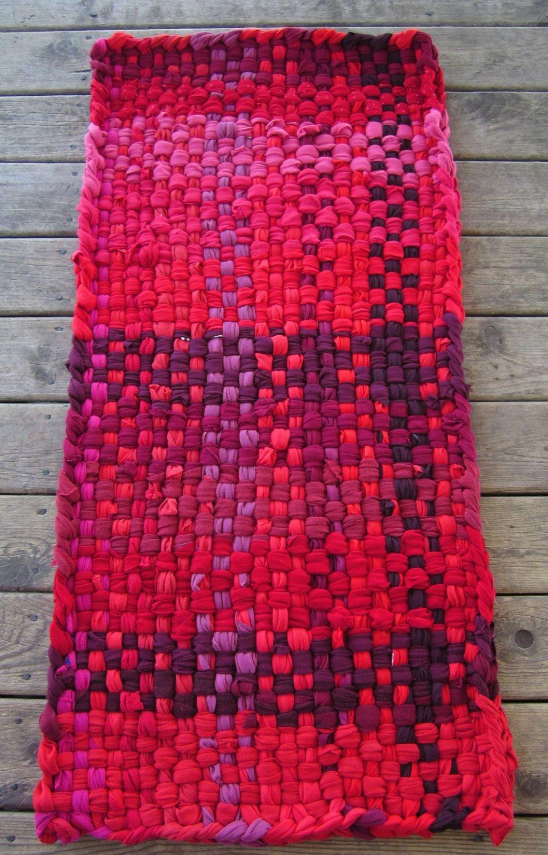 Red Rug Runner Rug Rag Rugs Cotton Rugs Shabby Chic Rugs