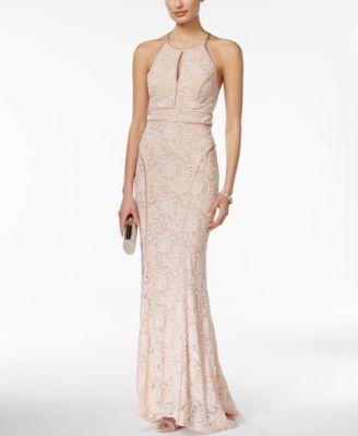 Xscape Satin-Trim Lace Halter Gown - Dresses - Women - Macy\'s ...