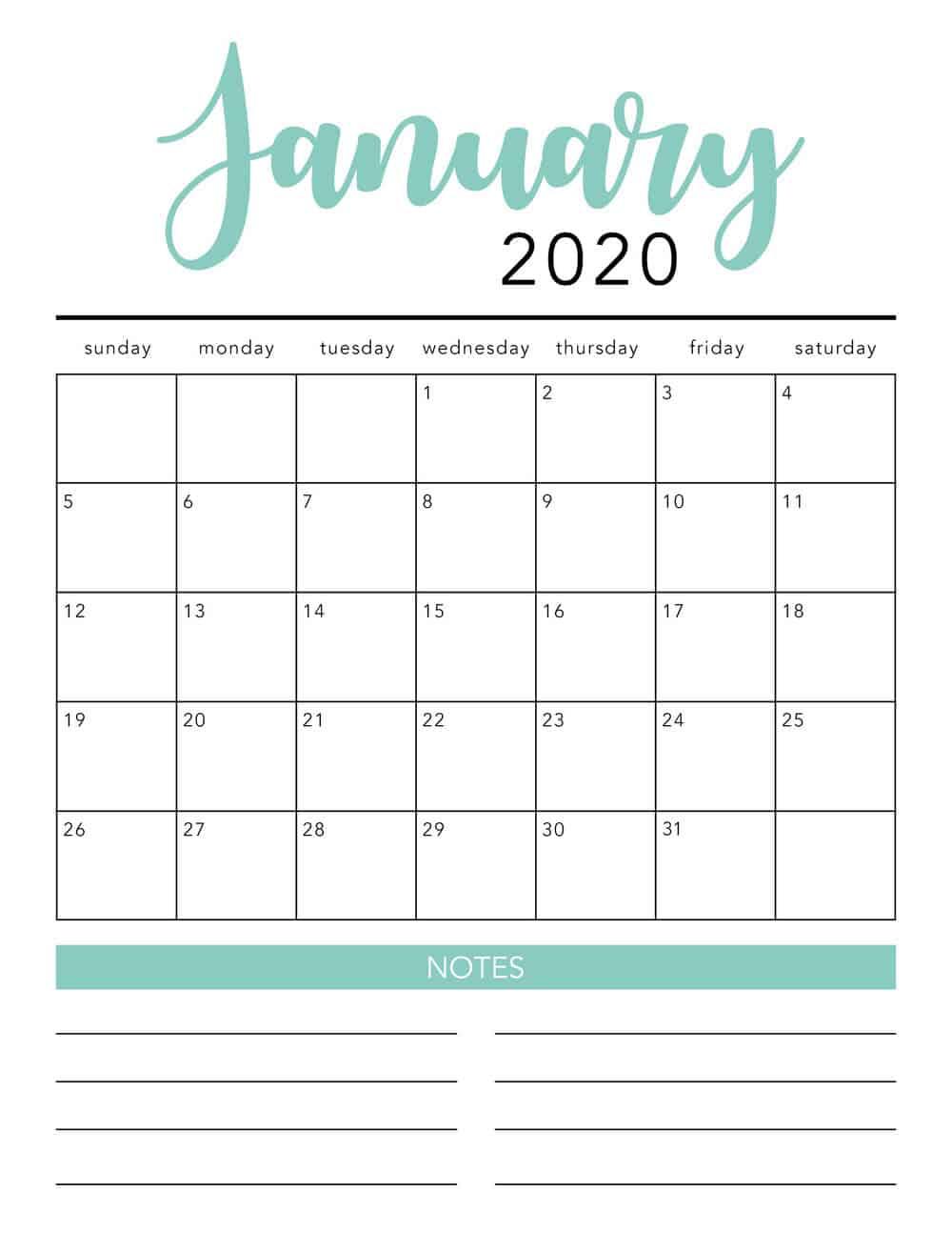 2020 Free Printable Calendars Free Printable Calendar Templates