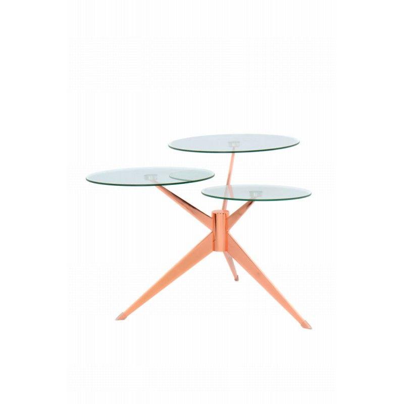 Table D Appoint 3 Plateaux Bout De Canape Marion En Metal Et Verre Transparent Rose Bout De Canape Bout De Canape Design Et Canape En Metal