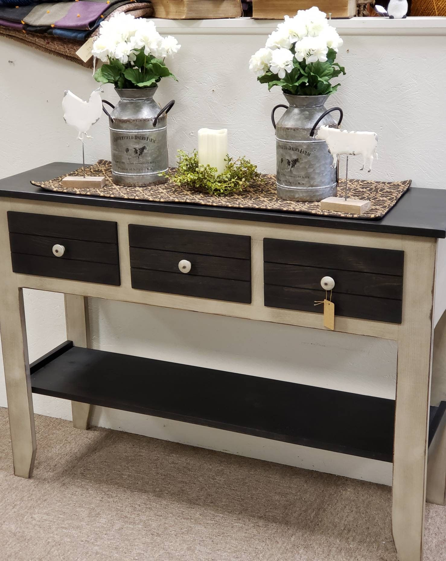 Rustic sofa table/ Farmhouse console table/ three drawer