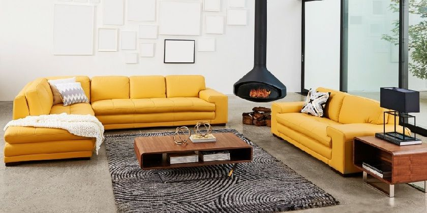 Yellow Leather Corner Sofa Set
