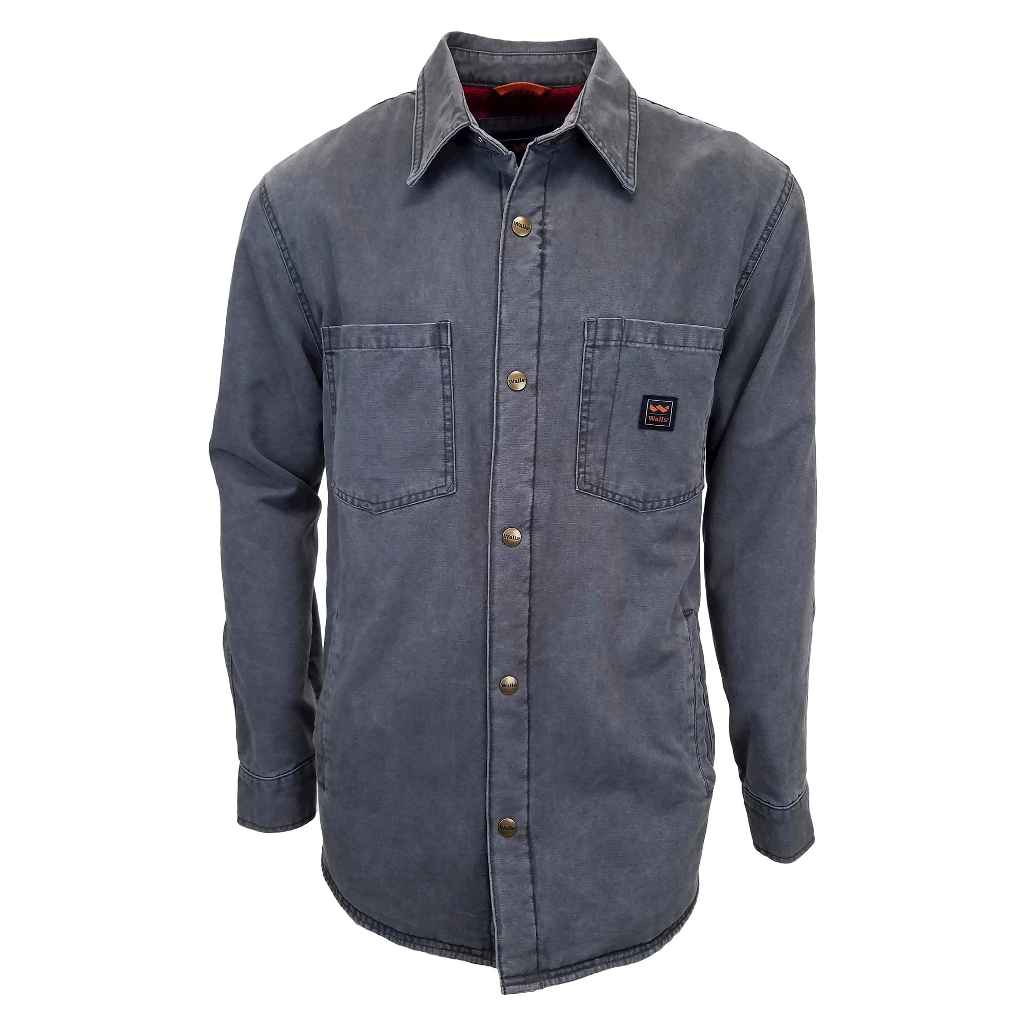 Walls Vintage Duck Shirt Jacket Big Tall Washed Graphite Grey