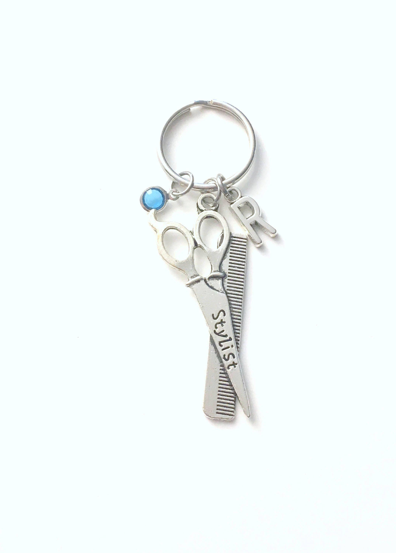 Gift for hairdresser keychain scissors keyring hair