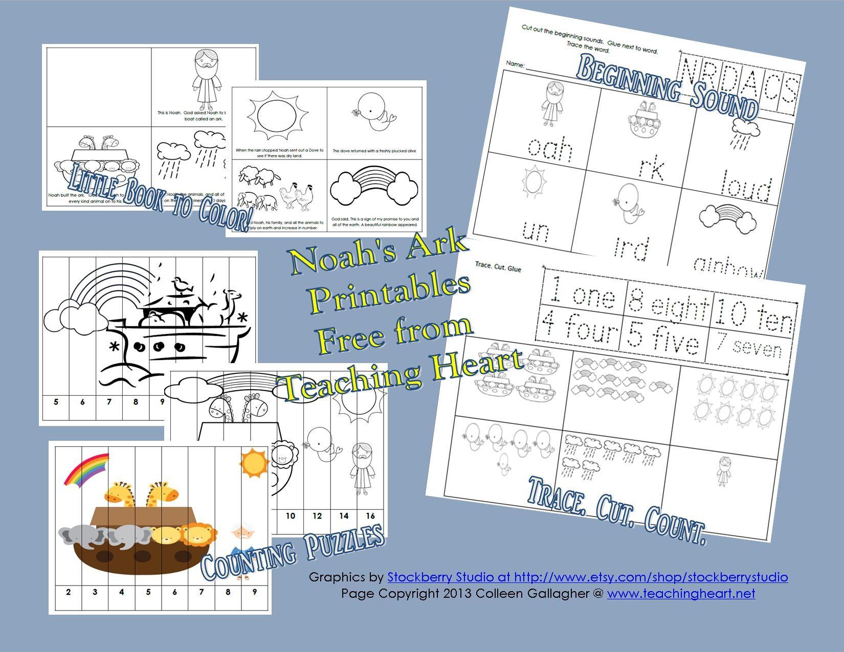 Free Set of Noah\'s Ark Printables for Preschool and Kindergarten ...