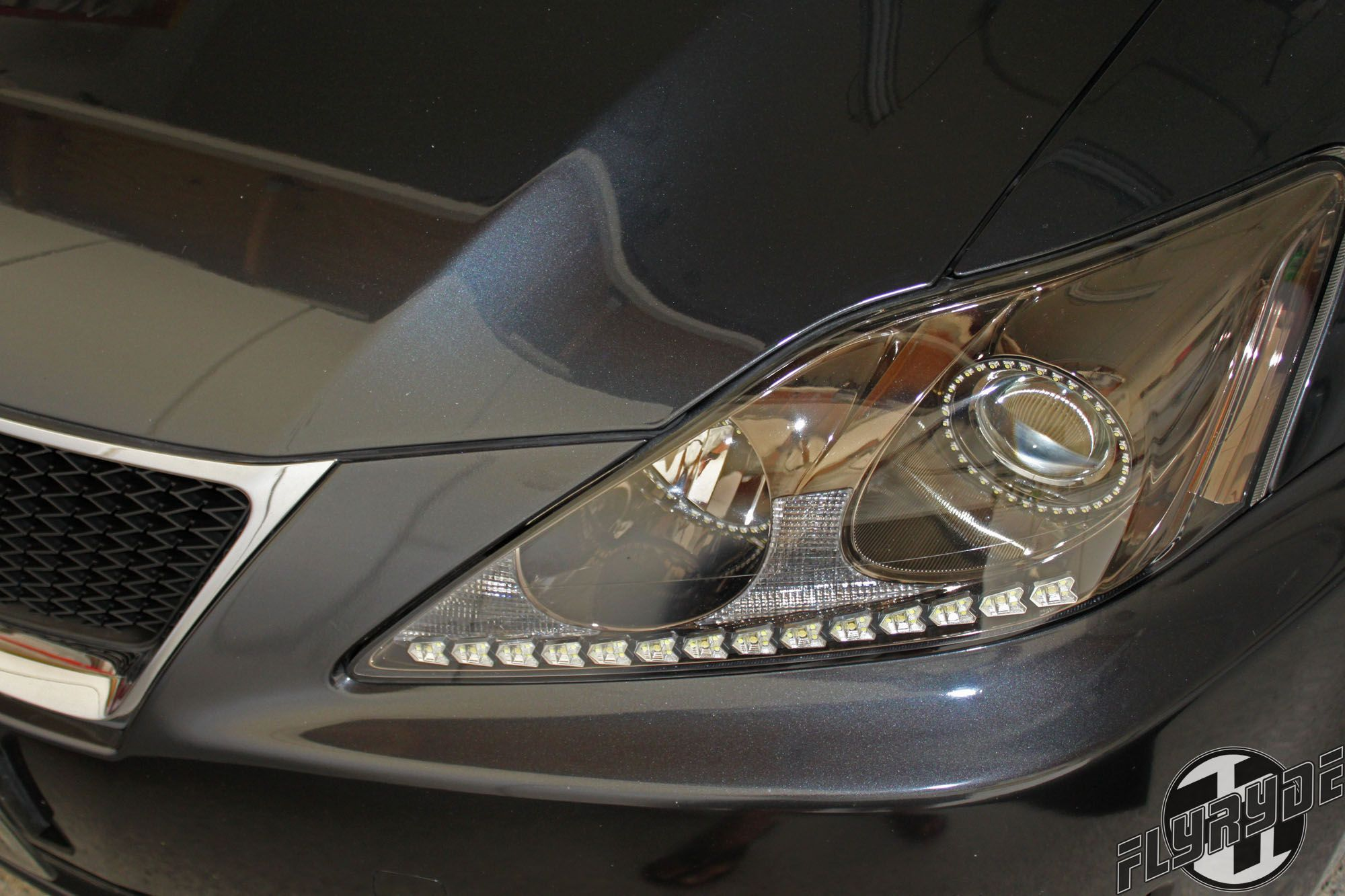 Lexus is350 black chrome headlights with led angel eyes and drl strip
