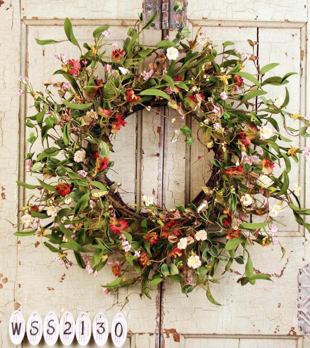 Summer Silk Vine Wreath Artificial Wreaths For Front Doors