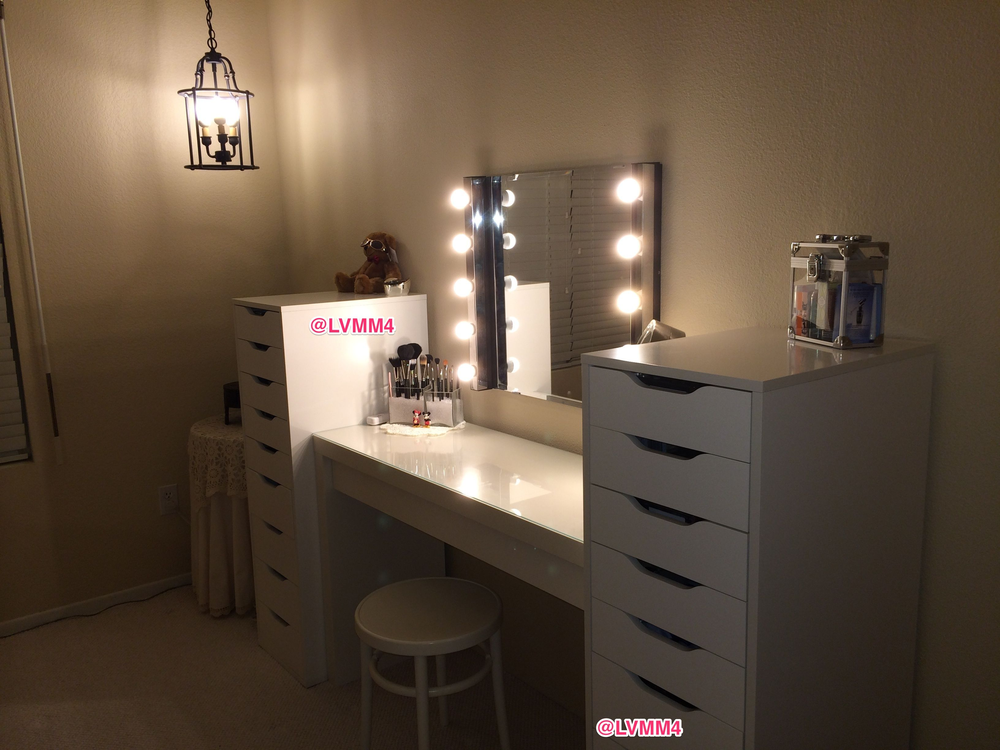 Jessica Furniture Makeup Vanity With Lights : My Vanity is FINISHED!! :) (IKEA Malm dressing table USD 149. 2 - Alex 9 drawer units, USD 119 each ...