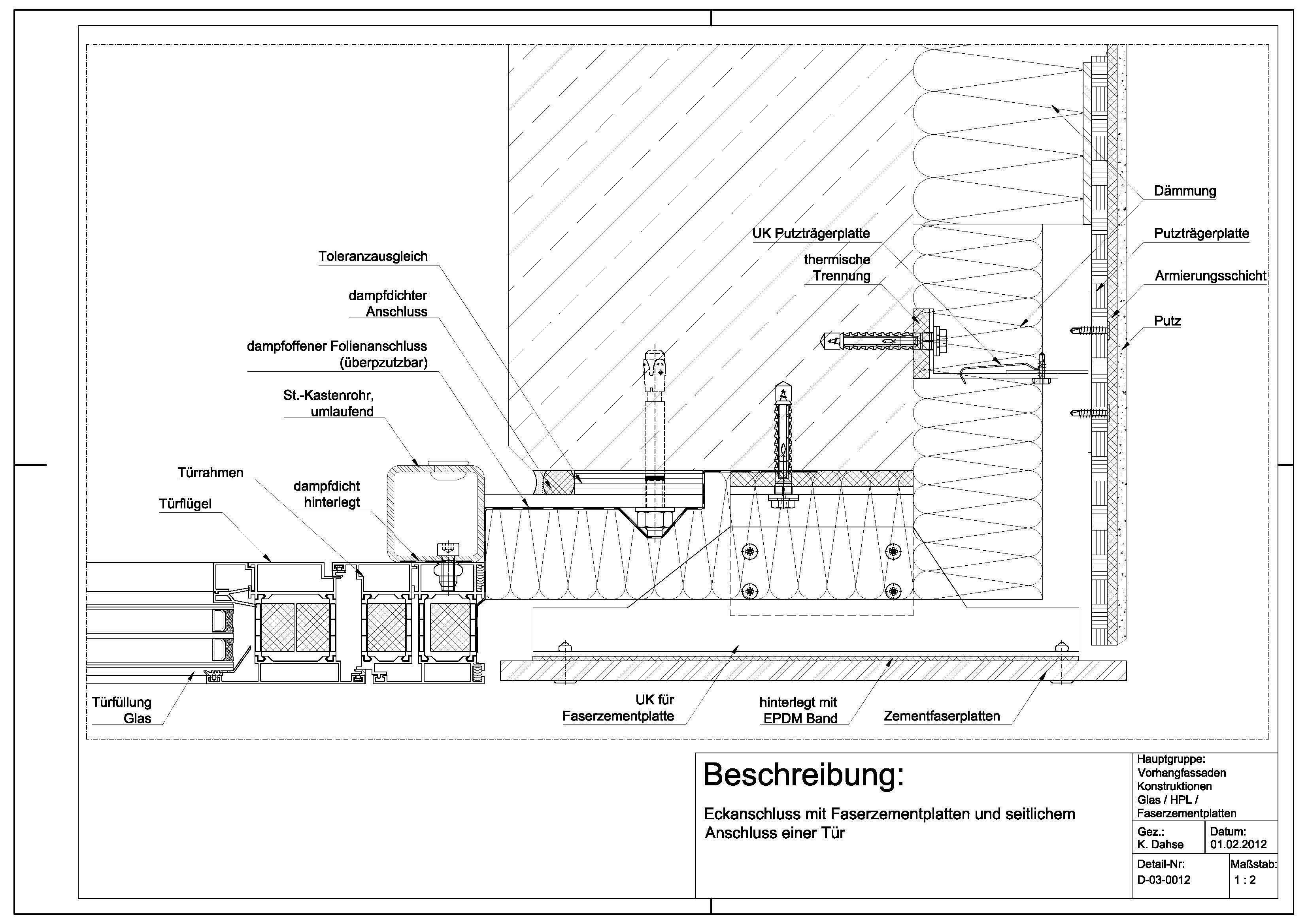 D-03-0012 Eckanschluss mit Faserzementplatten und