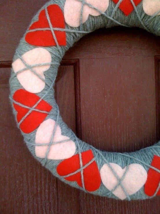 Argyle Heart Wreath Artesanato Em Tecido Dia Dos Namorados