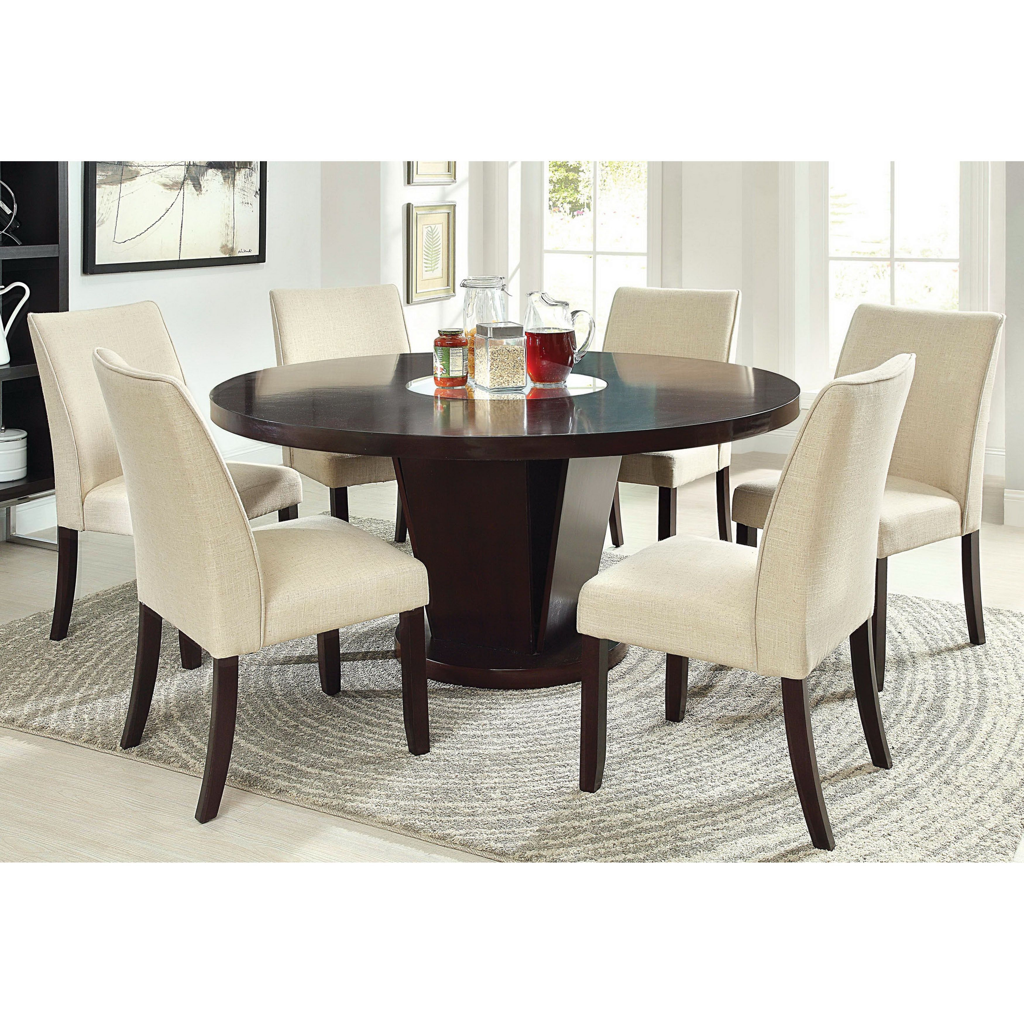 Contemporary Style Dining Set That Offers A Huge 60 Inch Round Table With Center Mirror Accent Supported Unique Sy Pedestal Supports