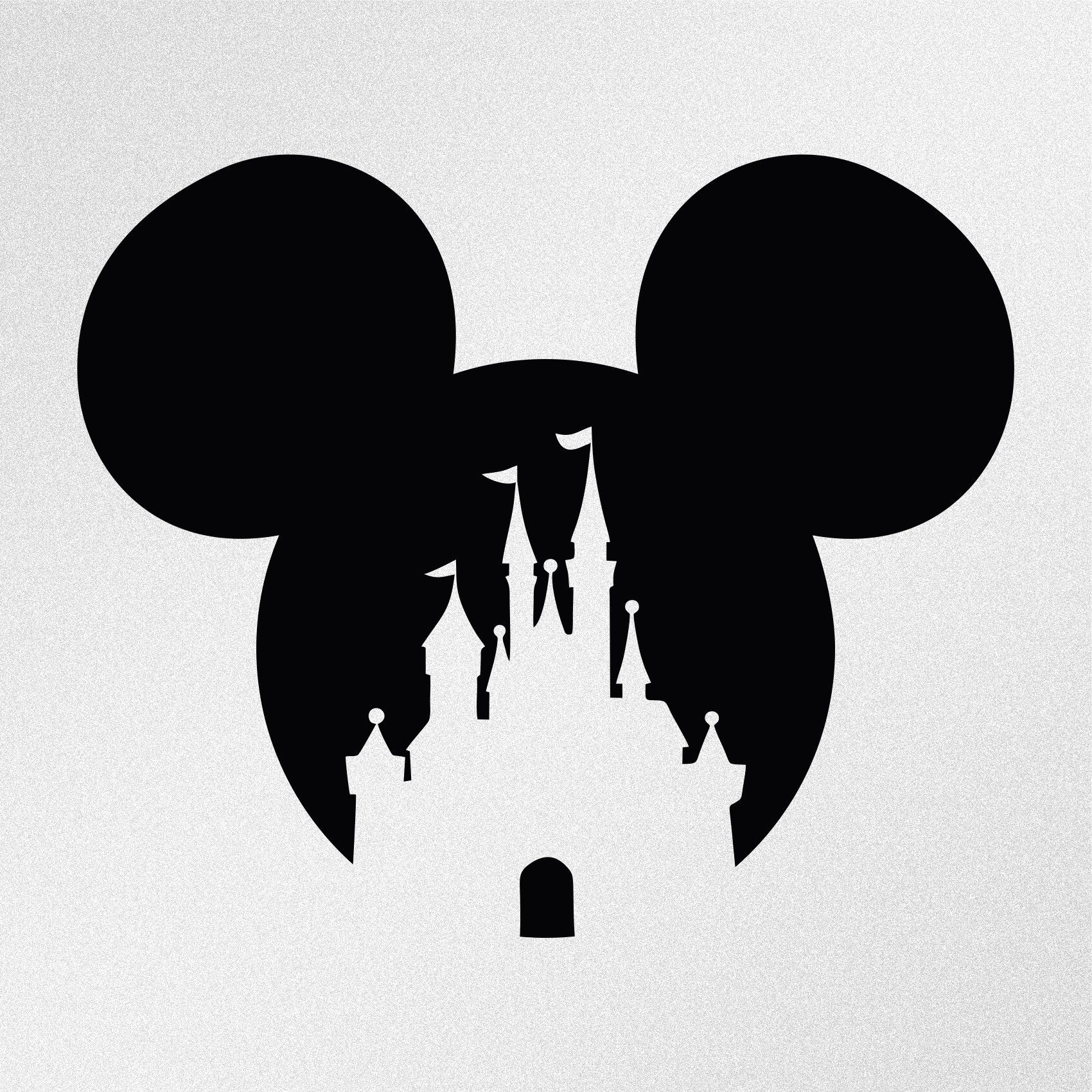 Mickey Mouse Disney Castle Vinyl Decal Sticker Disney Stencils Disney Decals Disney Sticker [ 1700 x 1700 Pixel ]