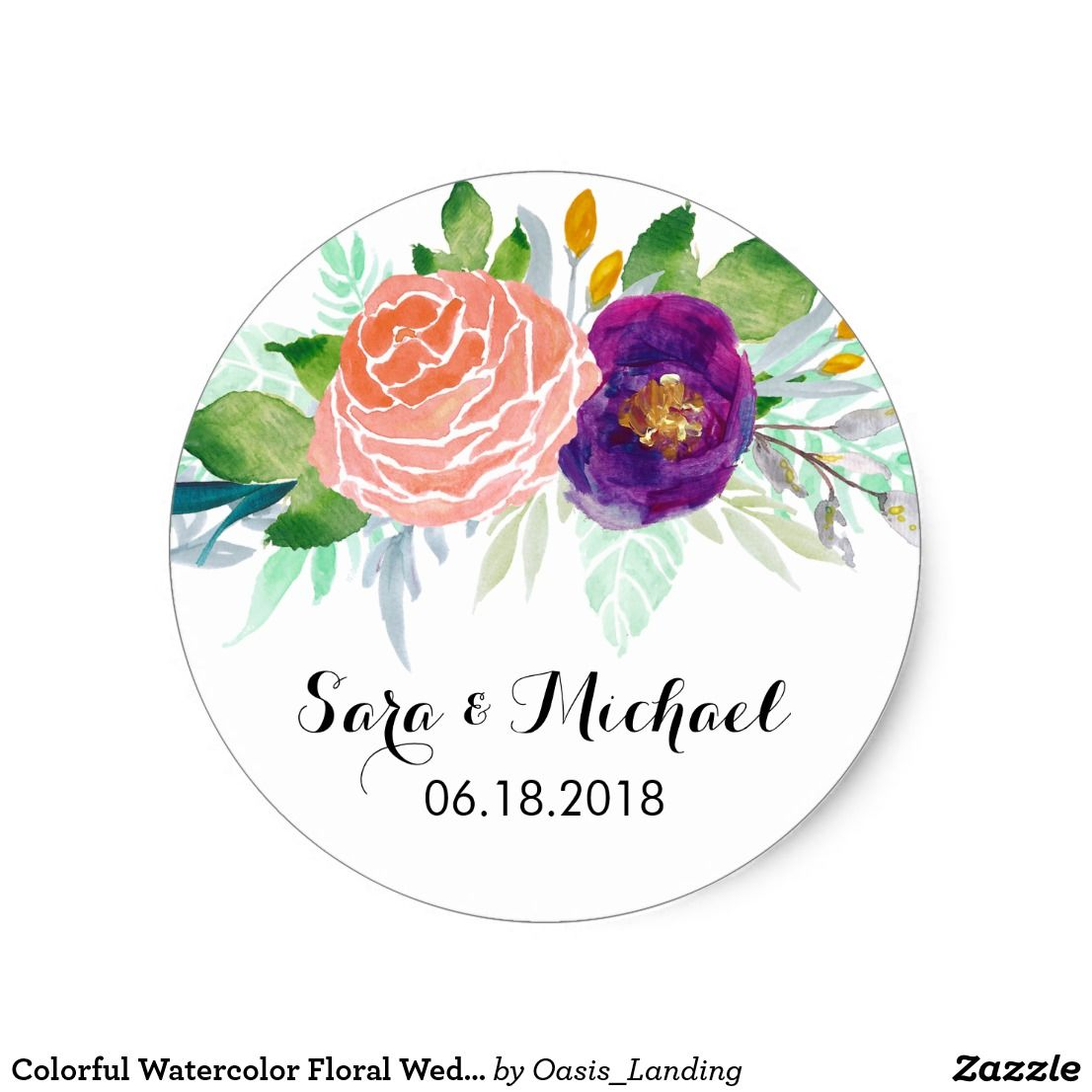 Colorful Watercolor Floral Wedding Classic Round Sticker | Wedding ...