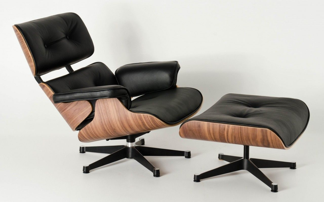 fake eames chair steel joints replica lounge ottoman black italian leather walnut charles ray