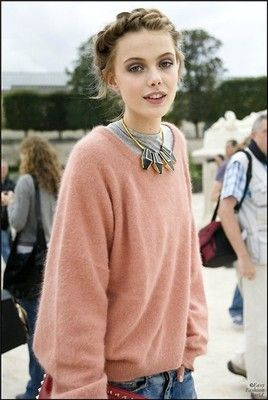 I adore soft colored sweaters paired with an edgy metal necklace