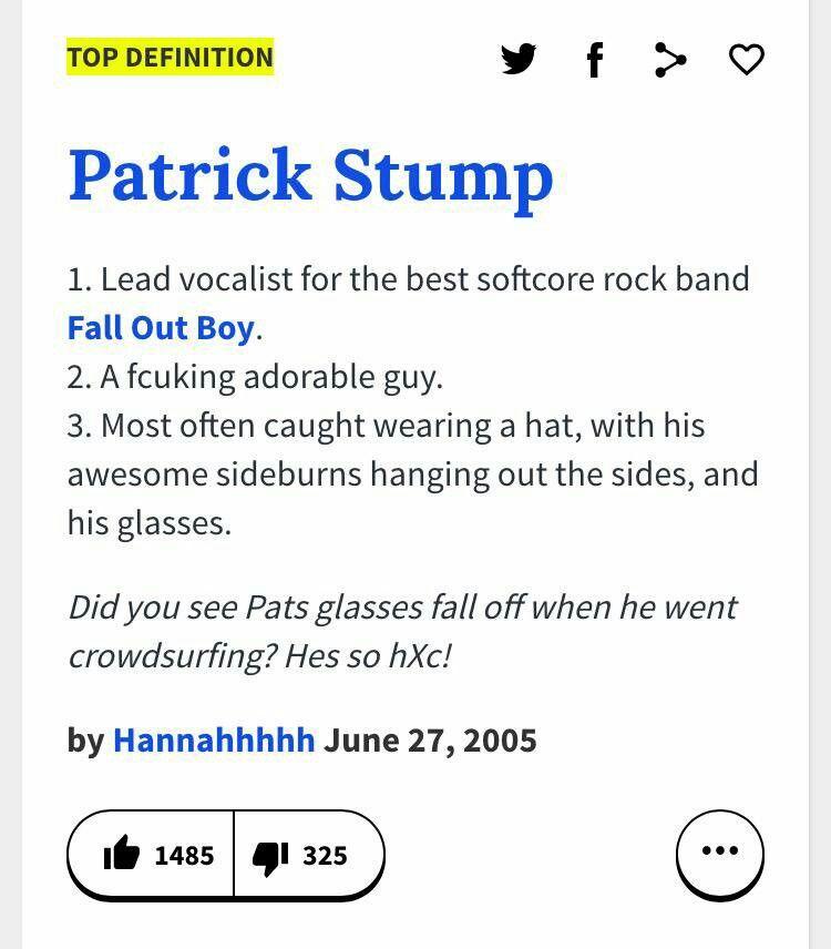Urban Dictionary Definition Of Patrick Stump Urban Dictionary Stumped Urban Dresses