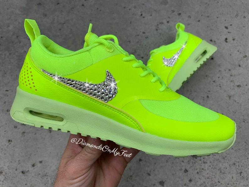 Customized Swarovski Crystal Women's Nike Air Max | Neon ...