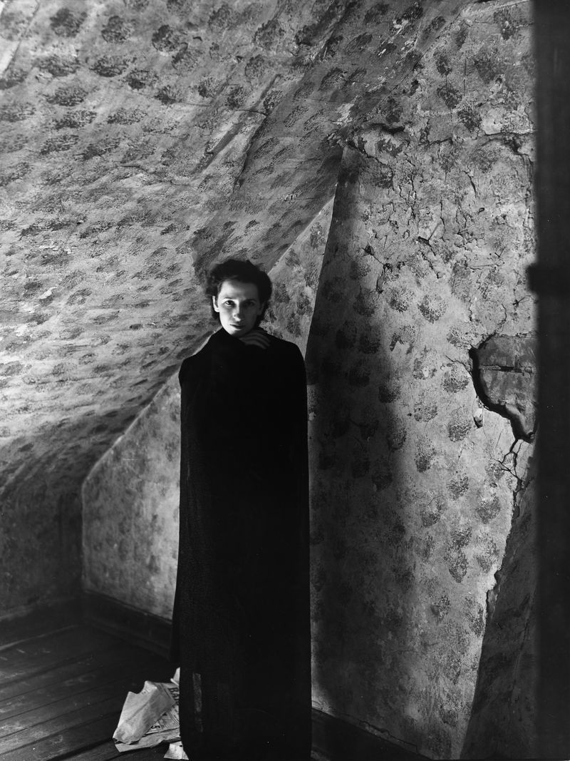 Lawnmall clarence john laughlin shrouded woman against a plaster wall monochrome photography black